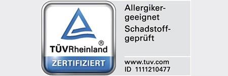 """TÜV-Zertifikat """"Schadstoffgeprüft und allergikergeeignet"""""""