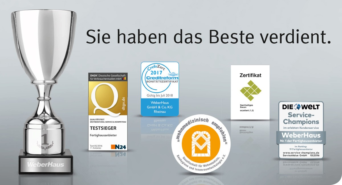 Zertifikate und Auszeichnungen von WeberHaus