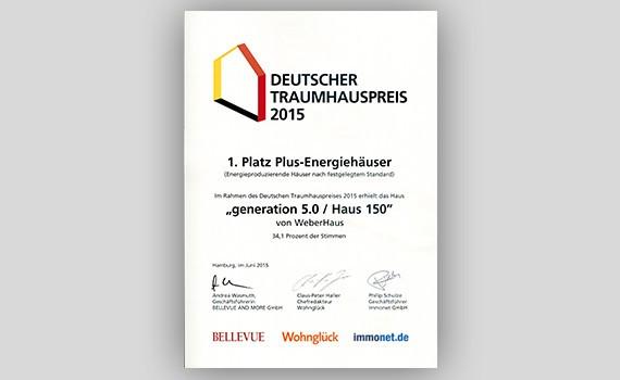 Deutscher Traumhauspreis 1.Platz Plus-Energiehäuser-WeberHaus