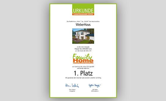 Urkunde Family Home WeberHaus