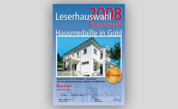 Siegerurkunde Leserhauswahl 2008 WeberHaus