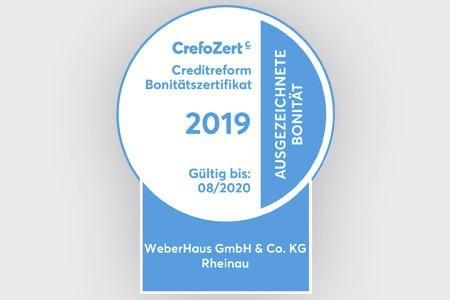 Auszeichnung CrefoZert 2019 für WeberHaus