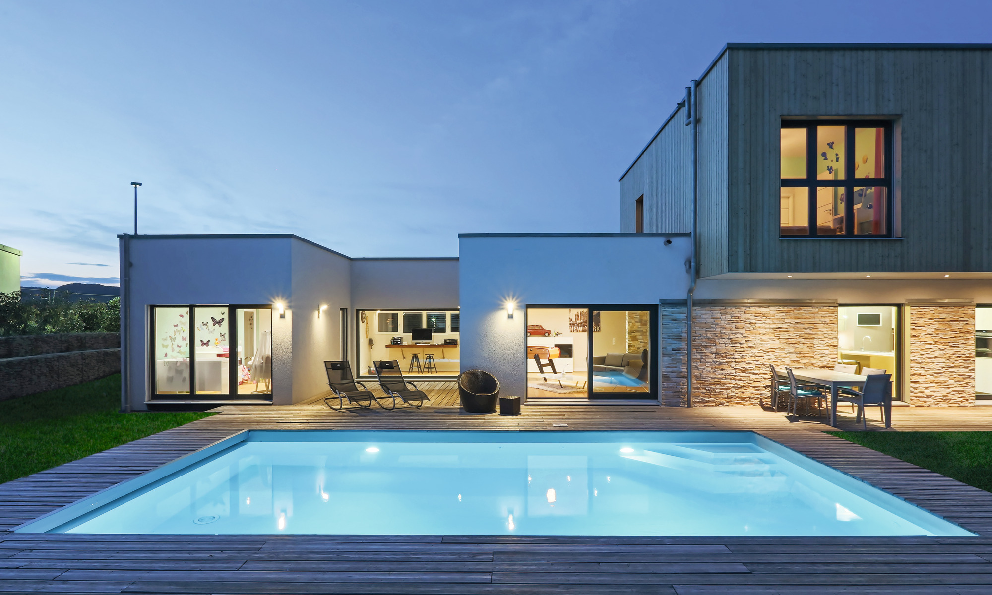 Architect-designed prefab home with large pool