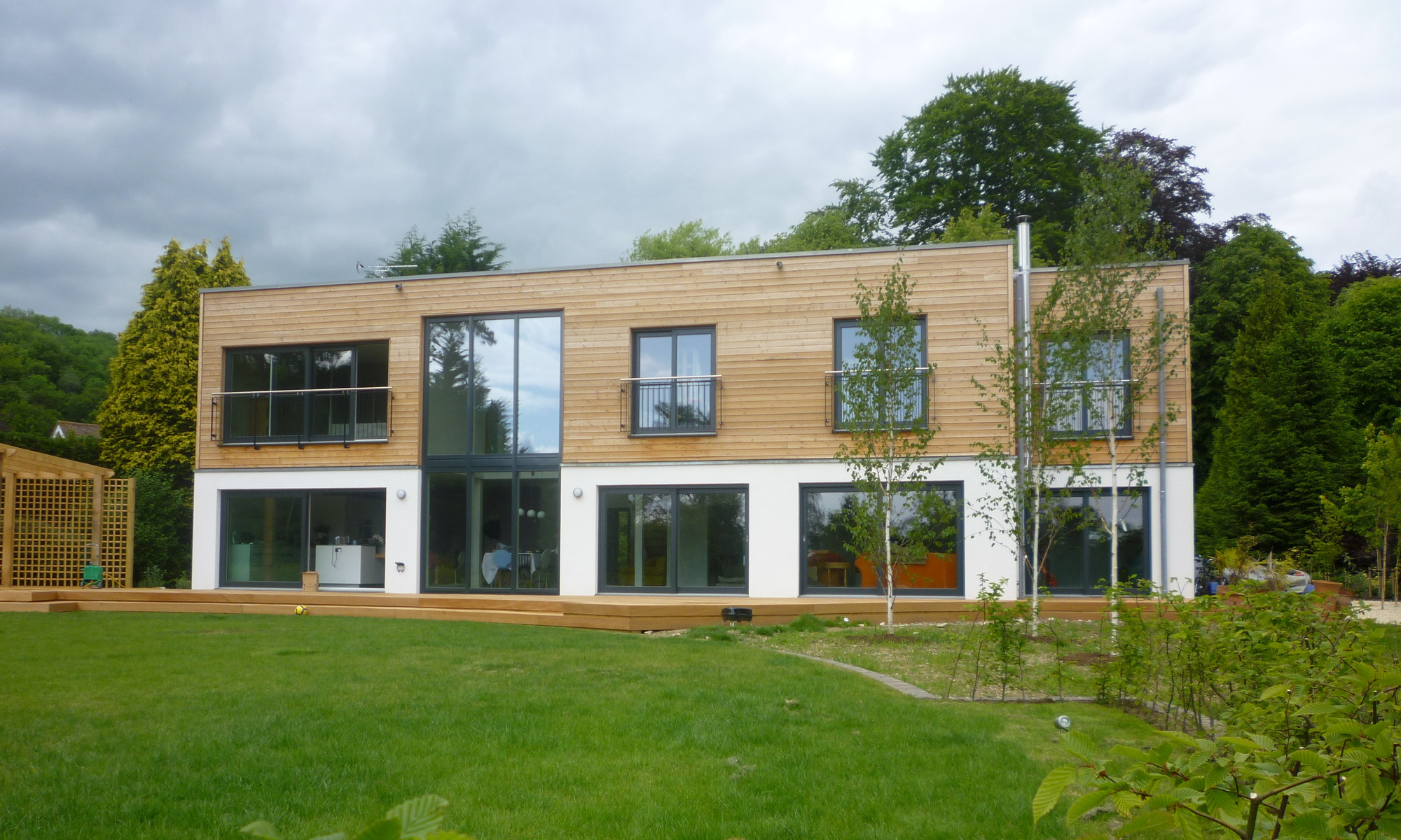 Sustainable prefab  home with wood burning stove