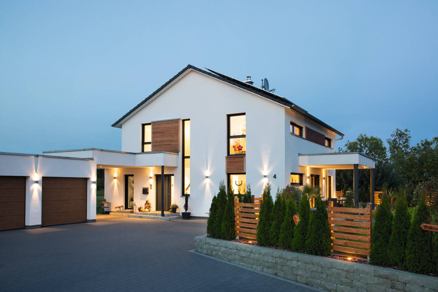 Einfamilienhaus in Abendstimmung
