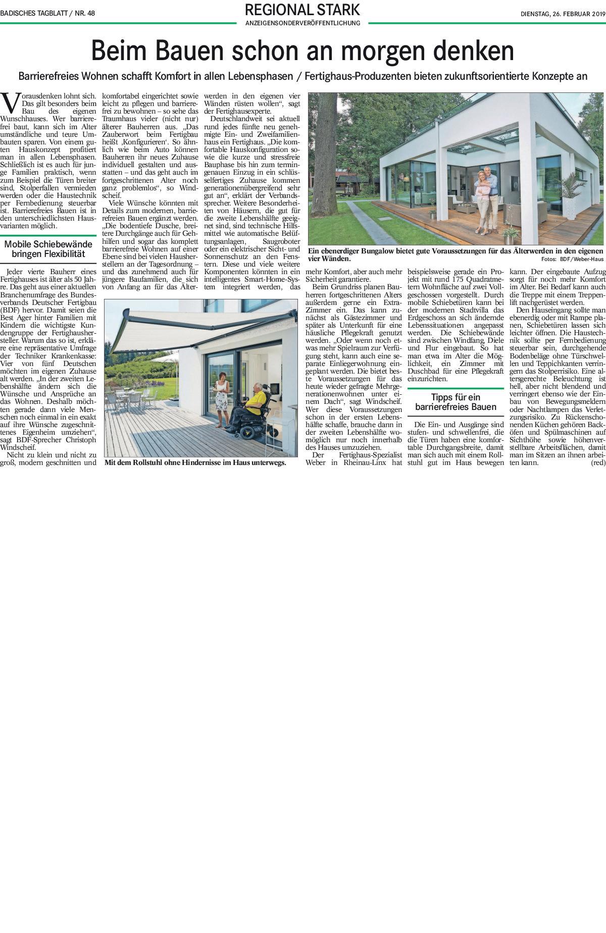 Badisches Tagblatt Regional Stark bauen