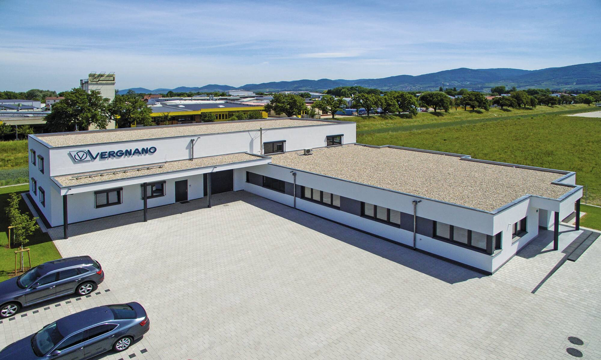 Objektbau Luftaufnahme Firma Vergnano